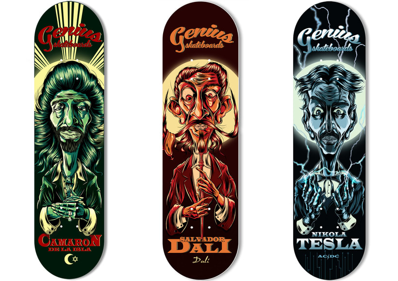 """Illustration and design for Genius skateboards"" -1"