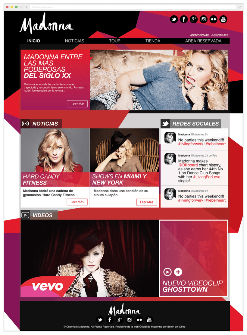 Rediseño Página Web Madonna / Diseño Web -1