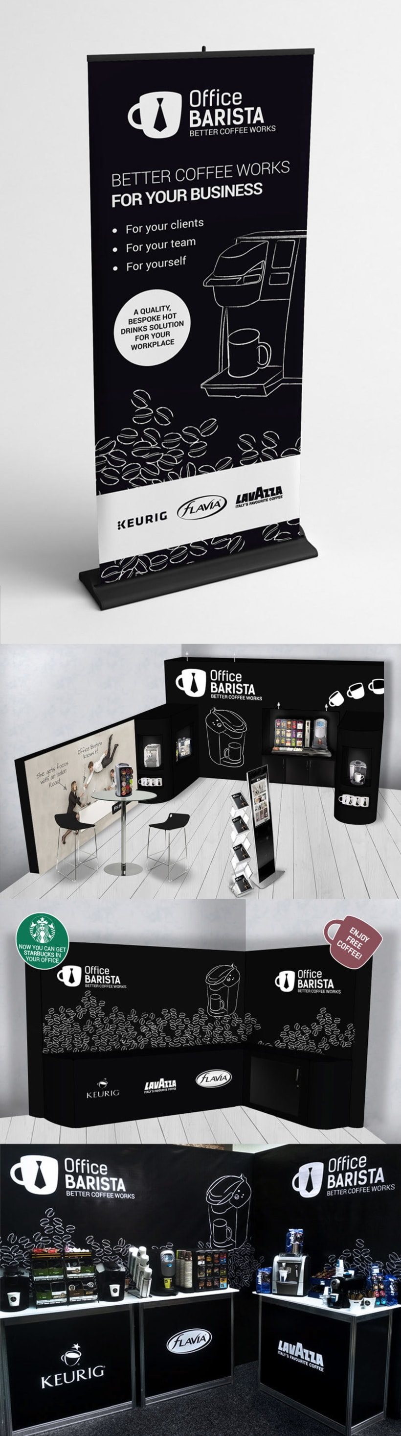 Office Barista. Banner, Proposals and Stand. 0