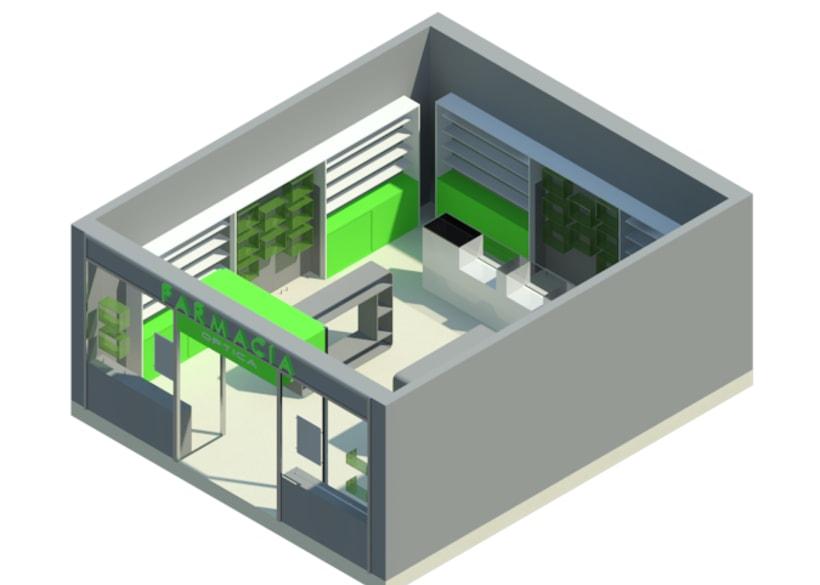 Escaparate de Farmacia con Carpetas LED y Estanterías de Cubo. 1
