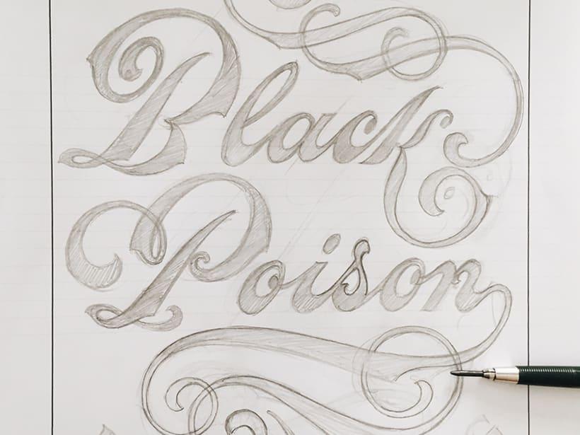Black Poison. Rotulación de cristal a mano. 0