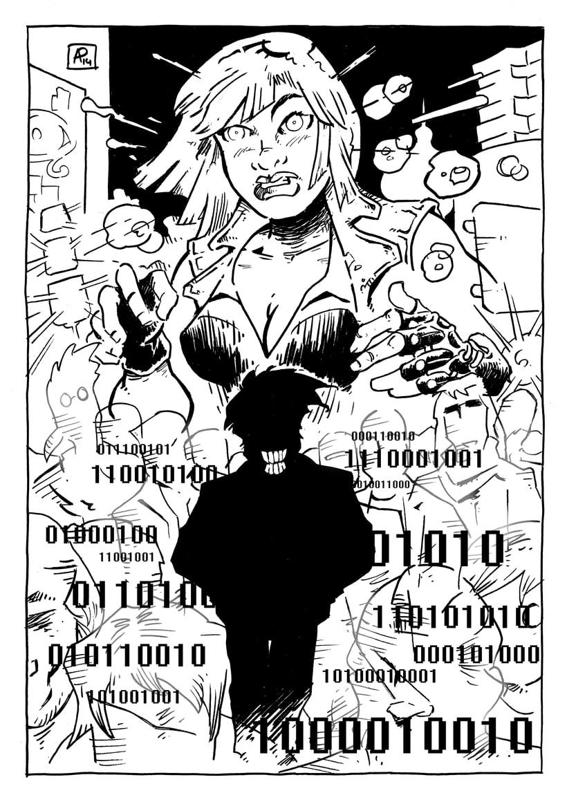 Ilustración para El Mundo es Atroz (fanzine de Ciencia-Ficción) 0