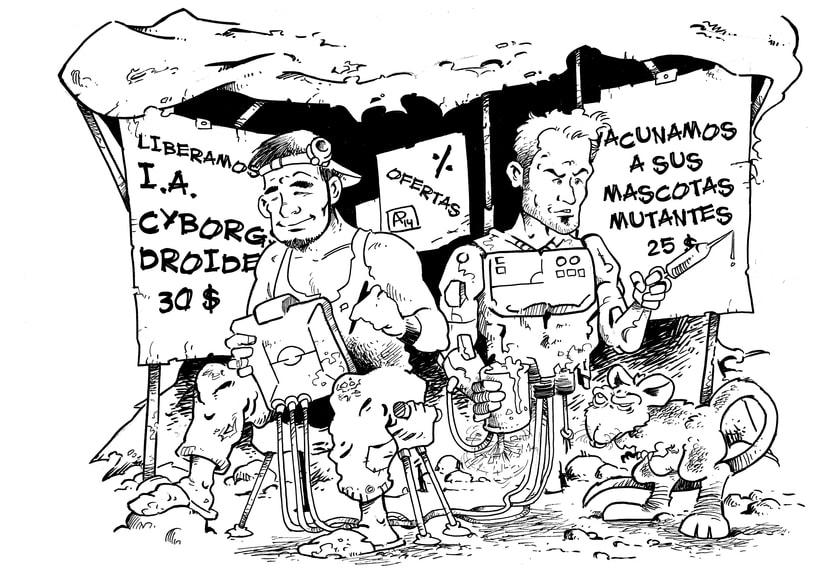 Ilustración para El Mundo es Atroz (fanzine de Ciencia-Ficción) -1