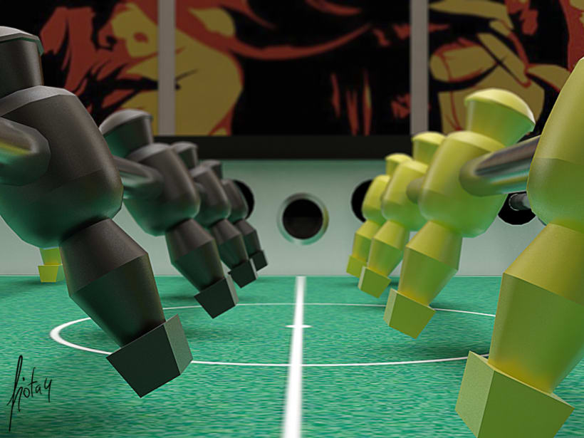 Modelado y texturizado 3D - Futbolín 4