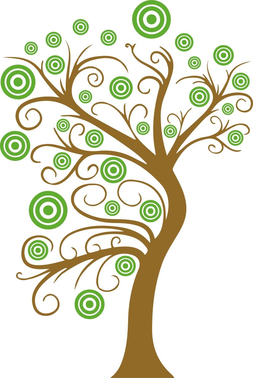 Vinilo árbol con círculos -1