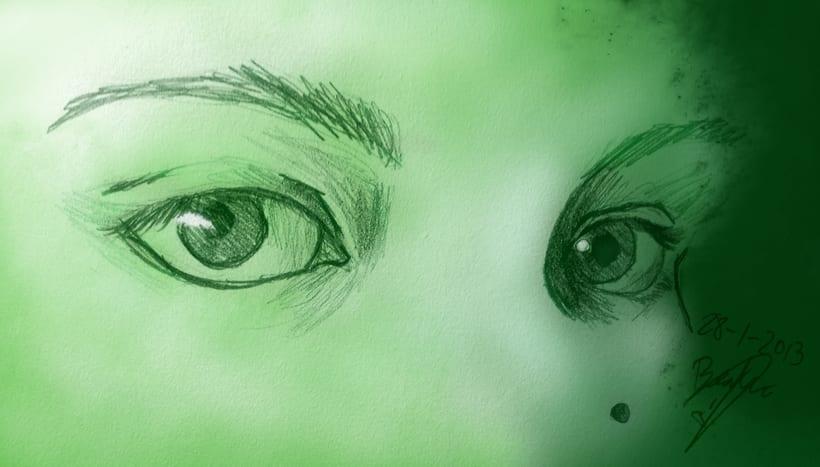 Ilustración ojos verdes -1