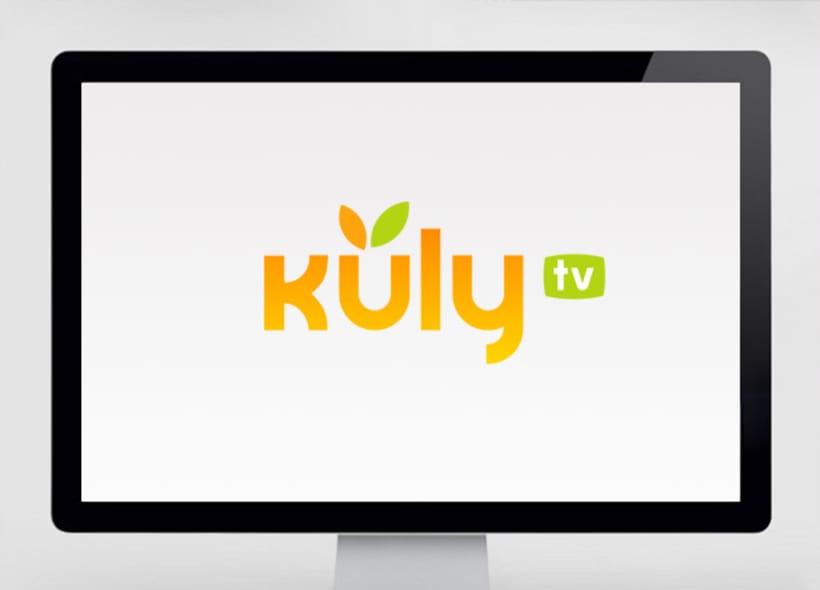 Diseño de logotipo para Kuly TV, un canal de televisión on-line donde se ofrecen reportajes, noticias y shows relacionados con el mundo de la gastronomía y la restauración. -1