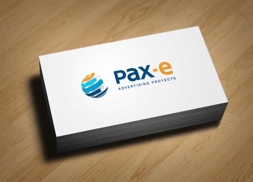Diseño de logotipo para Pax-e, una empresa que realiza servicios de publicidad, marketing y comunicación audiovisual ubicada en Houston (EEUU). 0
