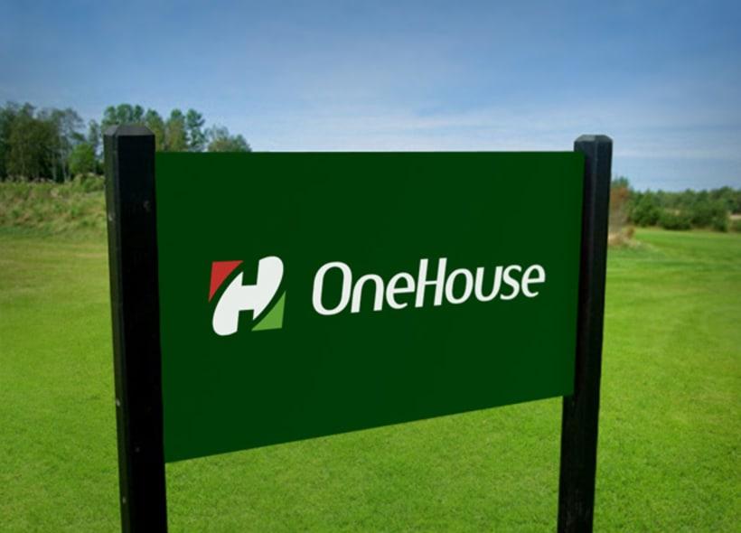 Logotipo para OneHouse, una empresa inmobiliaria y constructora española que tiene su principal activo de negocio en los países del norte de África. -1