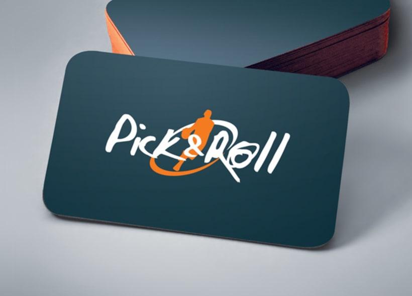 Diseño de logotipo para Pick&Roll, tienda especializada en equipamiento para baloncesto como ropa deportiva, calzado, balones, canastas y complementos de todo tipo. -1