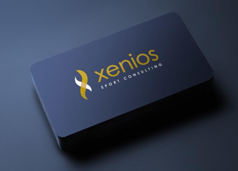 Diseño de logotipo para Xenios, una consultoría deportiva formada por deportistas y enfocada a la gestión integral de espacios deportivos, formación en distintas áreas del deporte, marketing y asesoramiento. -1