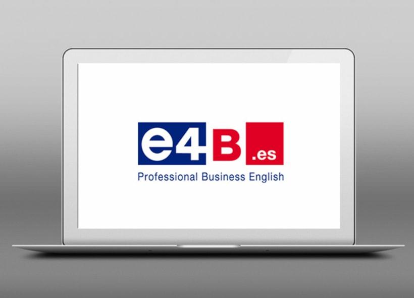 Diseño de logotipo para E4B.es, una academia de ingles presencial y on-line dirigida a aquellos estudiantes con un nivel de inglés intermedio avanzado que quieran estudiar inglés para negocios. -1