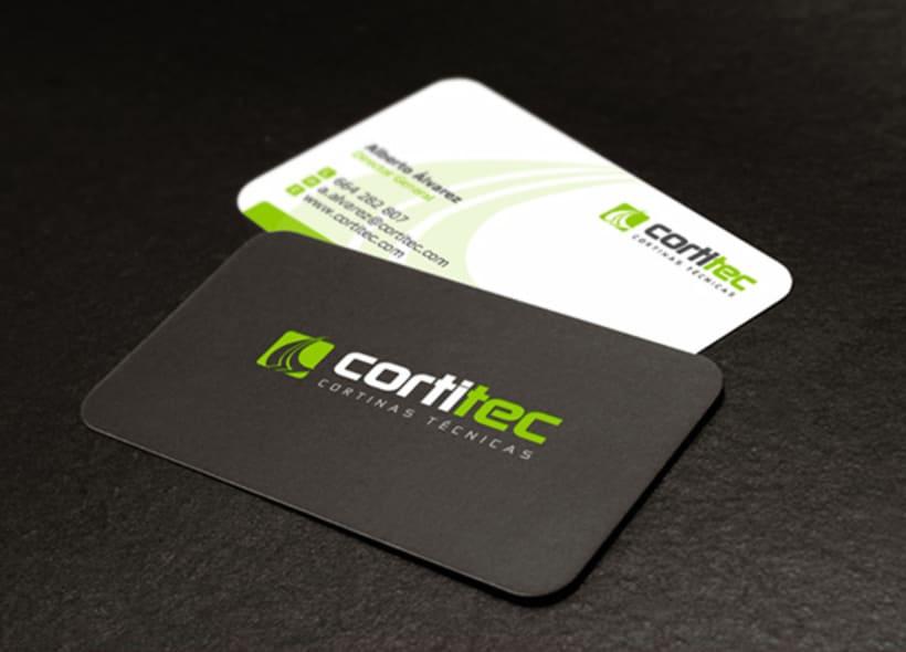 Logotipo para Cortitec, una empresa que distribuye todo tipo de cortinas para oficinas y viviendas: verticales, enrollables, venecianas, estores, etc... -1