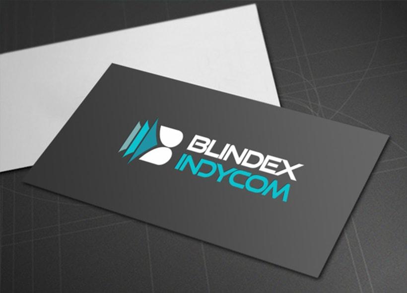 Logotipo para Blindex Indycom, una empresa gallega que se dedica a la fabricación y venta de productos de carpintería, cristalería y cerramientos de alta tecnología para viviendas realizados en diversos materiales como aluminio, PVC, etc... -1