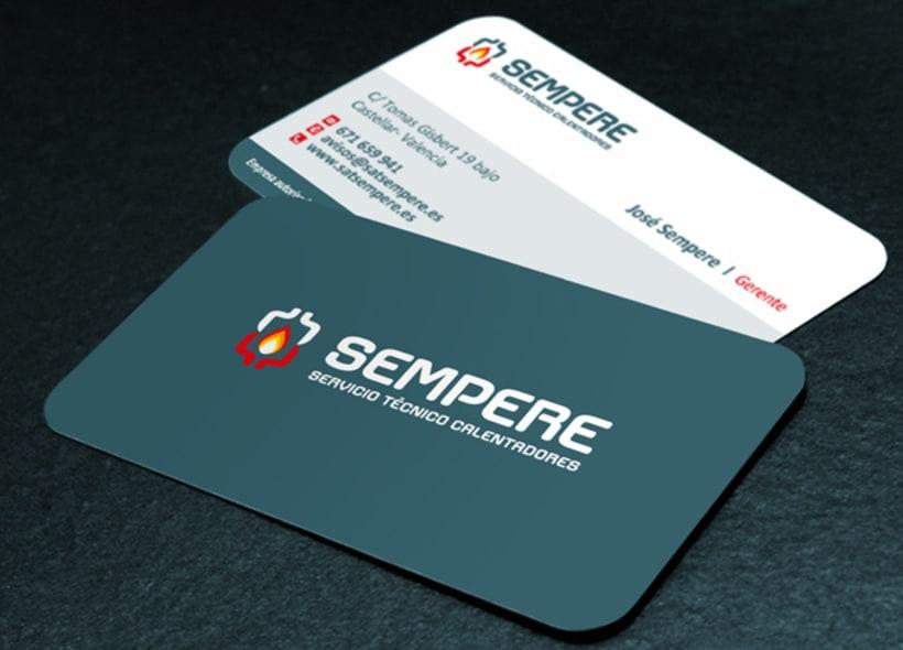 Logotipo, tarjetas de visita y flyer para Sempere, una empresa valenciana que realiza reparaciones, instalación y mantenimiento de todo tipo de calderas, calentadores, termos, etc... -1