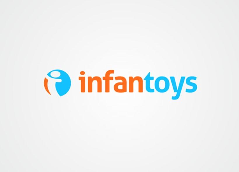 """Logotipo para Infantoys, una empresa de Barcelona dedicada a la fabricación y creación de muñecos, peluches y artículos de regalo. El icono se basa en la inicial """"i"""",  que recuerda un muñeco con sus brazos abiertos. -1"""