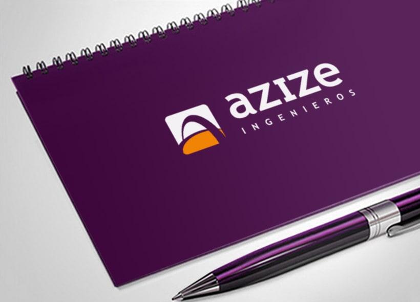 """Diseño de logotipo para Azize, empresa de ingeniería mexicana. El icono además de ser una """"A"""" simboliza un puente que cruza por encima de una carretera. -1"""