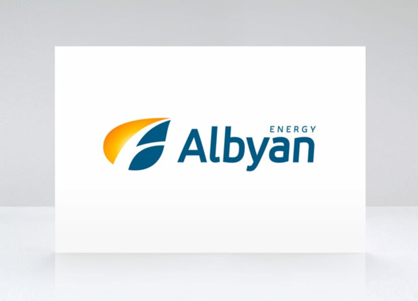 """Logotipo para una empresa dedicada a la comercialización de energía eléctrica. El icono se basa en la forma de una hoja en la que se inscribe unos trazos que recuerdan la """"A"""" de Albyan aprovechando los nervios de la hoja. -1"""