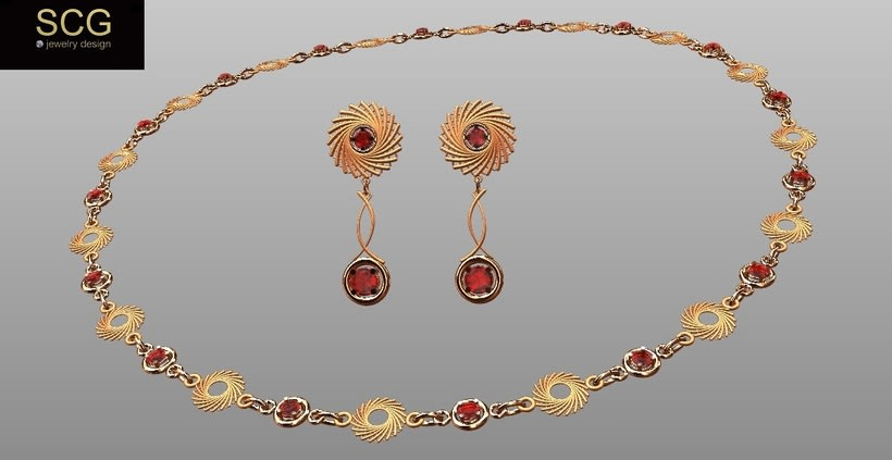 Necklace and earrings. Red gold and ruby. -1