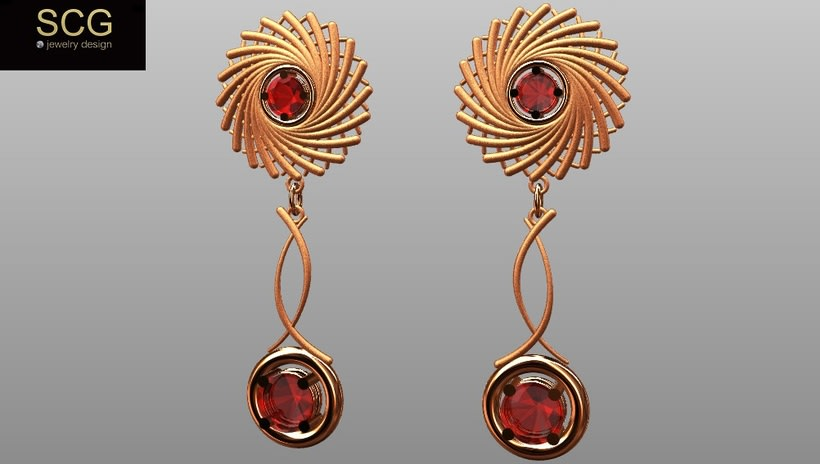 Necklace and earrings. Red gold and ruby. 0
