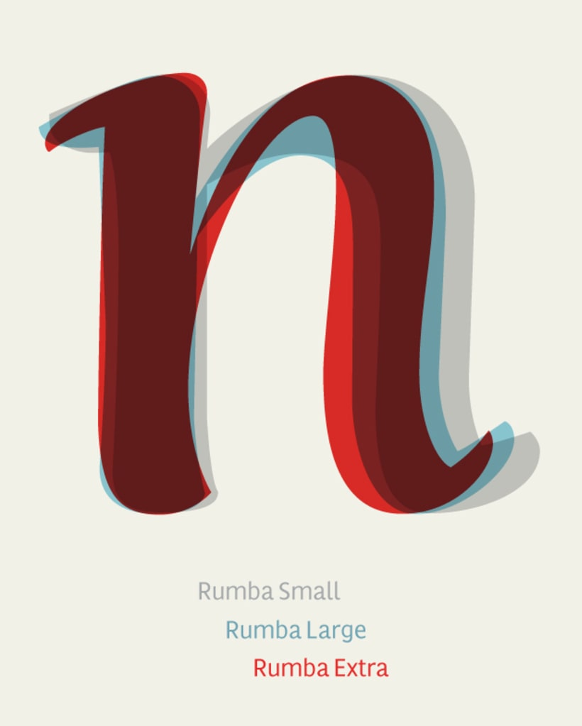 Rumba, una familia tipográfica de tres estilos, para textos y para palabras 3