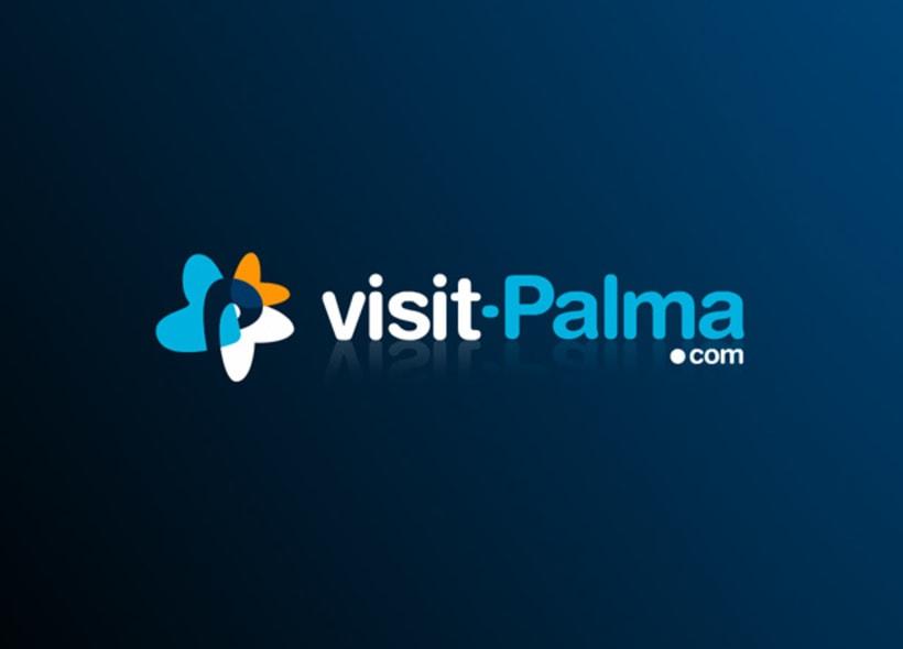 Diseño de logotipo para visit-palma.com, portal turístico que recoge todas la ofertas culturales, gastronómicas, deportivas y de ocio que ofrece la ciudad de Palma de Mallorca. -1