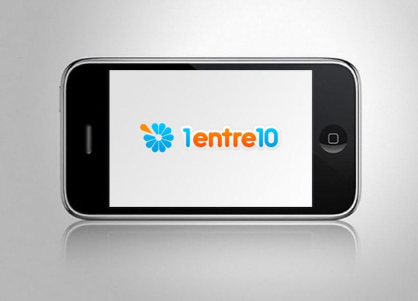 """Diseño de logotipo para 1entre10.com, un portal de venta de productos """"on-line"""" con un interesante sistema que mezcla la compra y la apuesta: 1 de cada 10 personas que compra un producto lo obtiene prácticamente gratis. -1"""