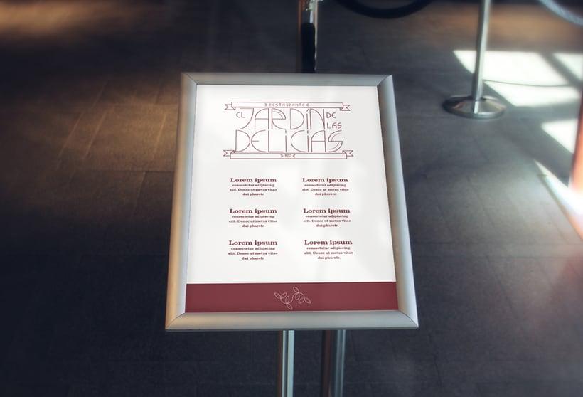 """Imagen corporativa para restaurante """"El Jardín de las delicias"""" y tipografía creada expresamente para el proyecto. 4"""
