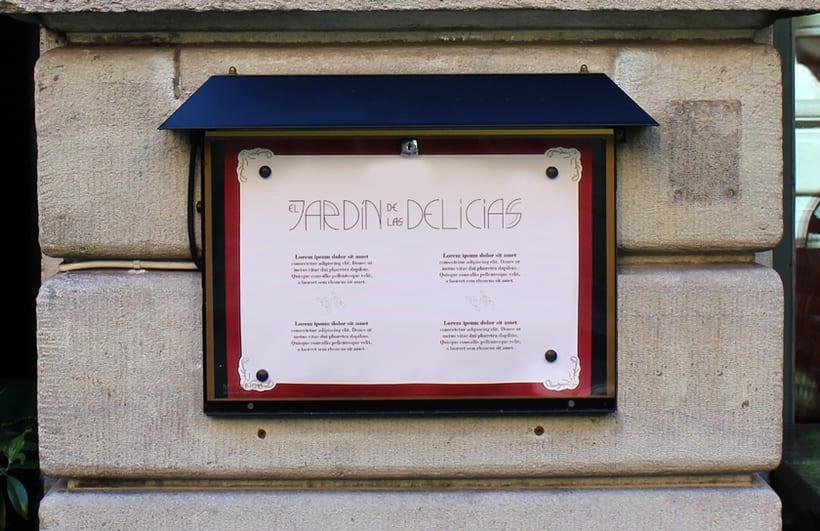 """Imagen corporativa para restaurante """"El Jardín de las delicias"""" y tipografía creada expresamente para el proyecto. 5"""
