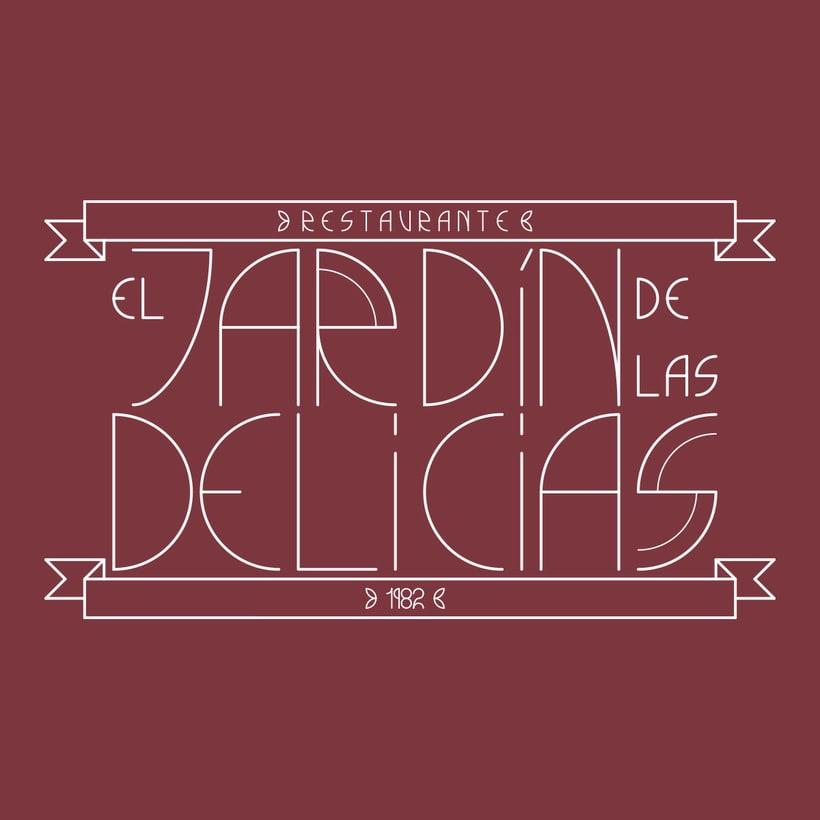 """Imagen corporativa para restaurante """"El Jardín de las delicias"""" y tipografía creada expresamente para el proyecto. 0"""