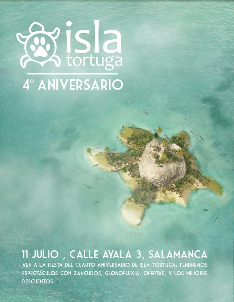 Cartel Cuarto Aniversario Isla Tortuga. -1