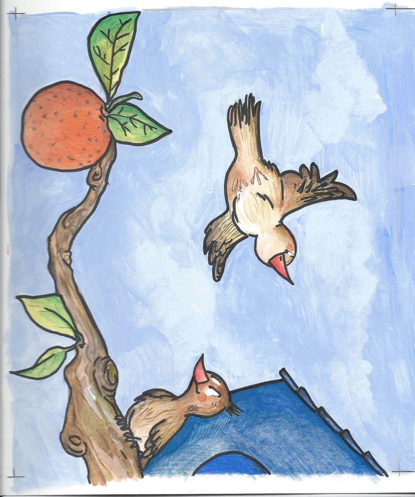 gorriones en el naranjo 0