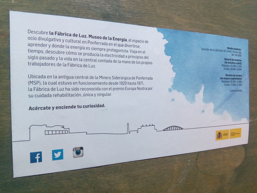Flyer para La Fábrica de Luz. Museo de la Energía 3
