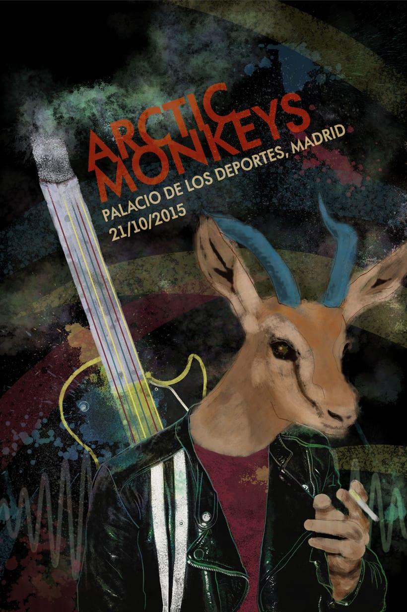 """Cartel """"Arctic Monkeys"""" [Mi Proyecto del curso Ilustración para music lovers] 3"""