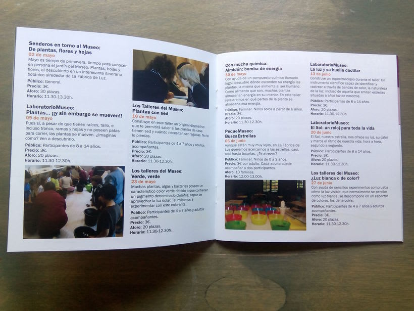 Maquetación de folleto para La Fábrica de Luz. Museo de la Energía 2
