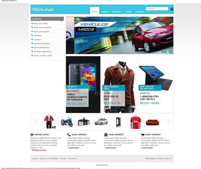 """Home del website """"ToEnLinea"""". 0"""