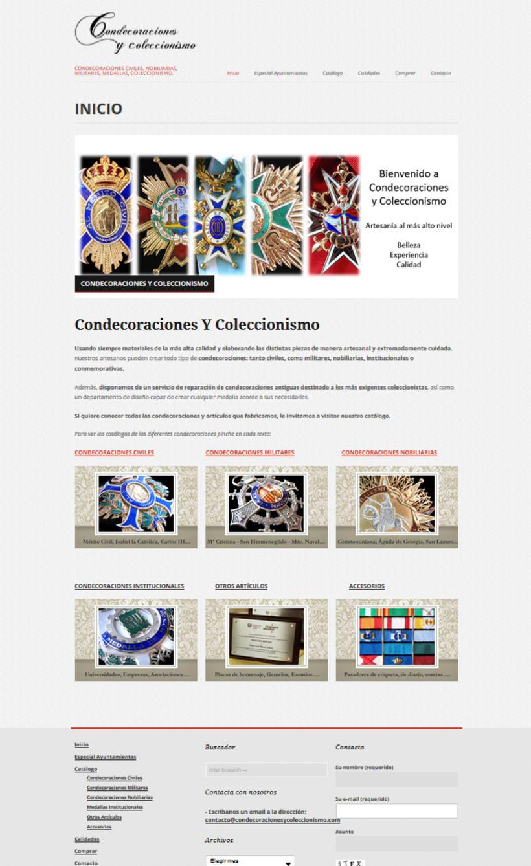 Web portfolio Condecoraciones y Coleccionismo -1