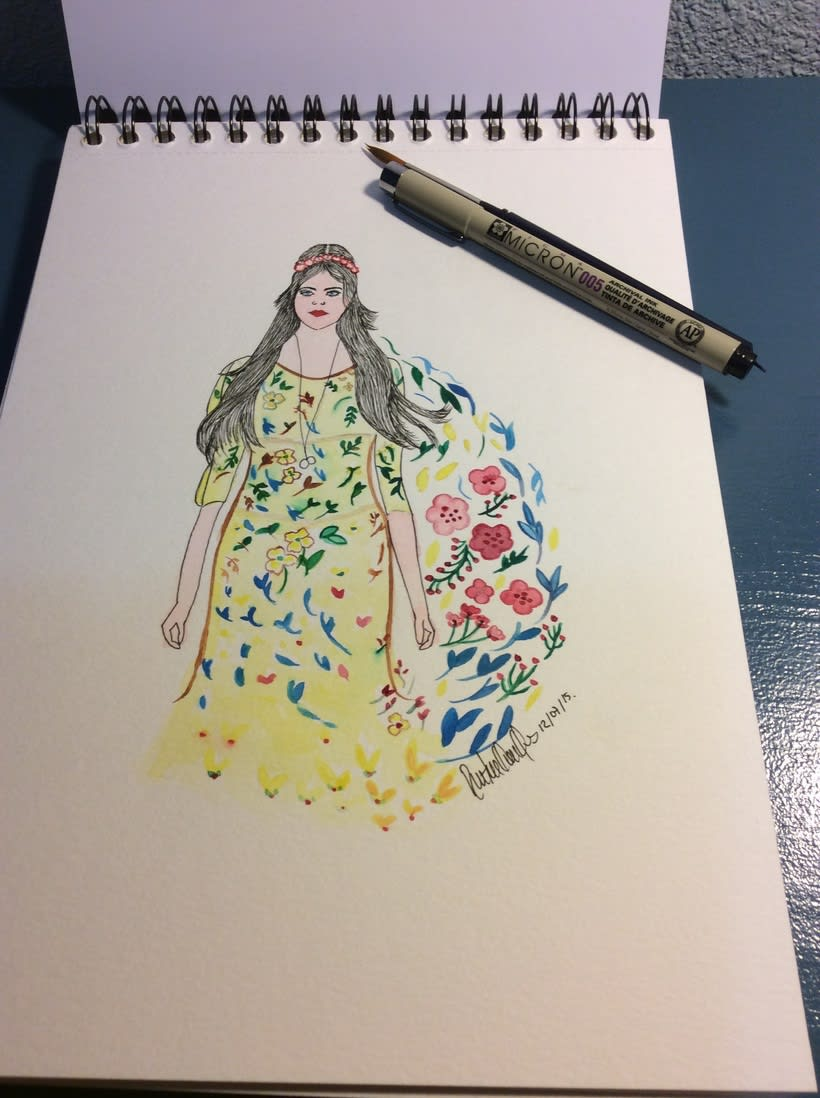 watercolor , la chica del jardin -1