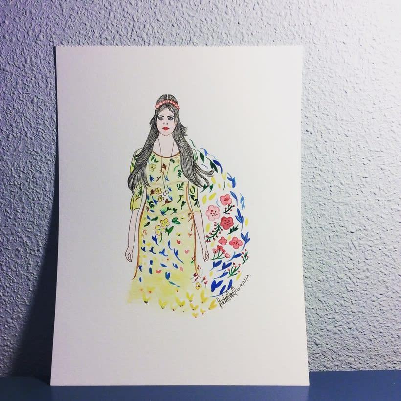 watercolor , la chica del jardin 0