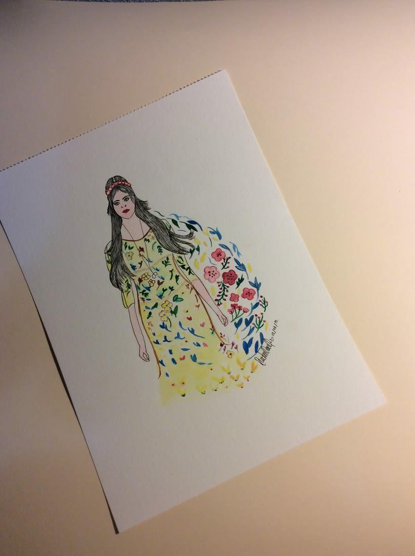 watercolor , la chica del jardin 1