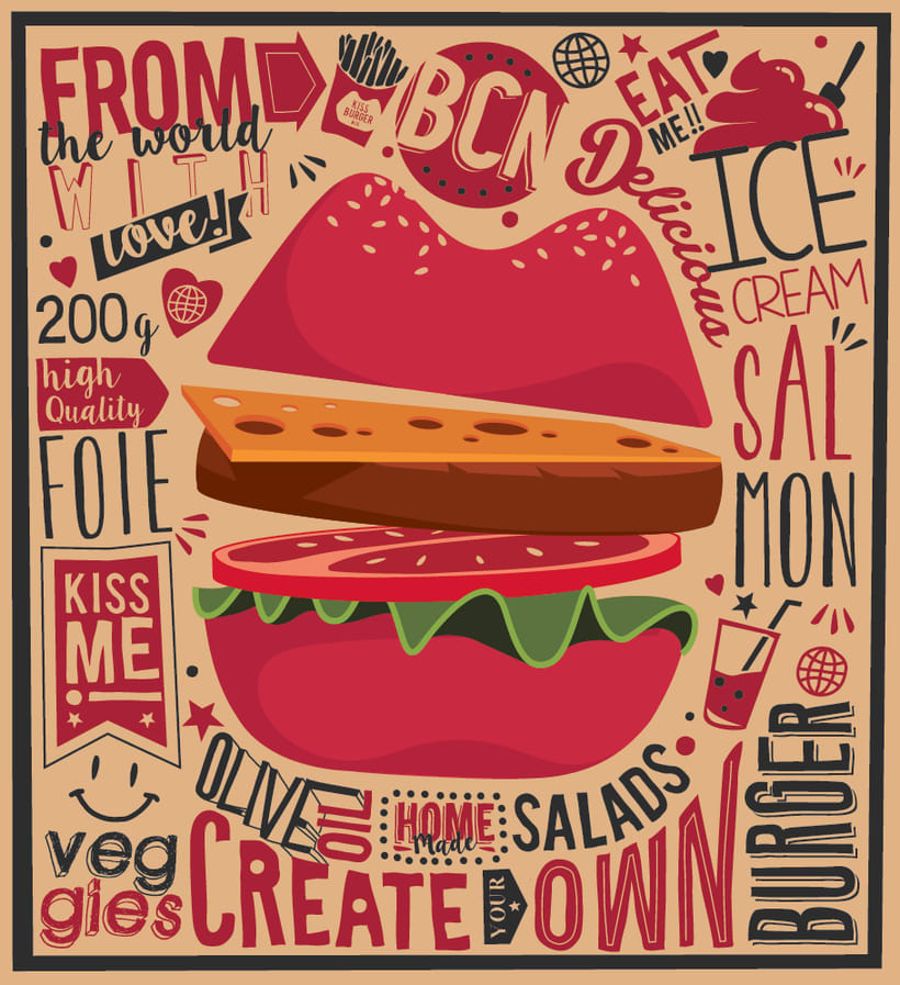 Kiss Burger Bcn Logo & Illustrations 2