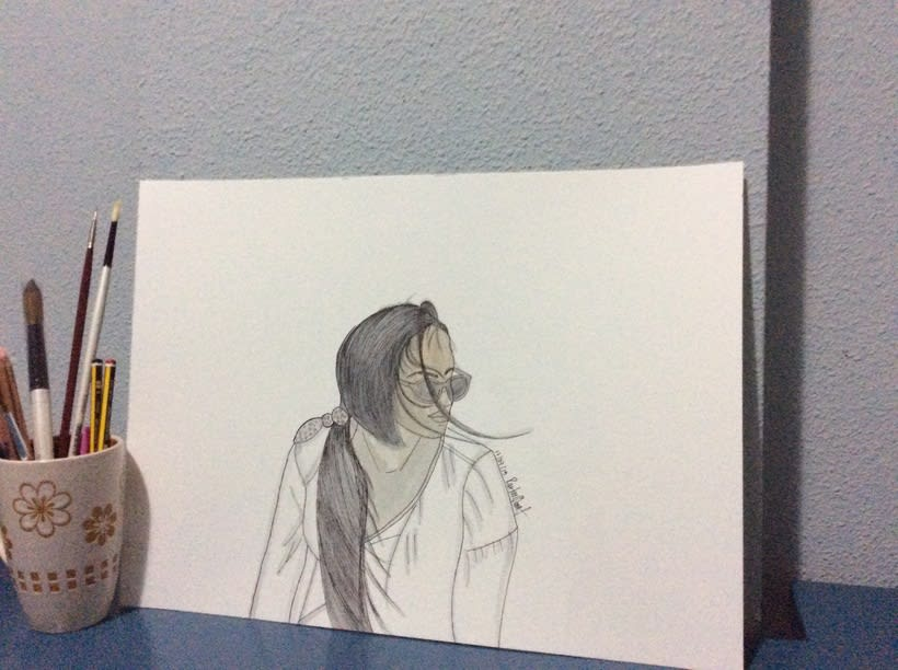 Marta al aire , watercolor -1