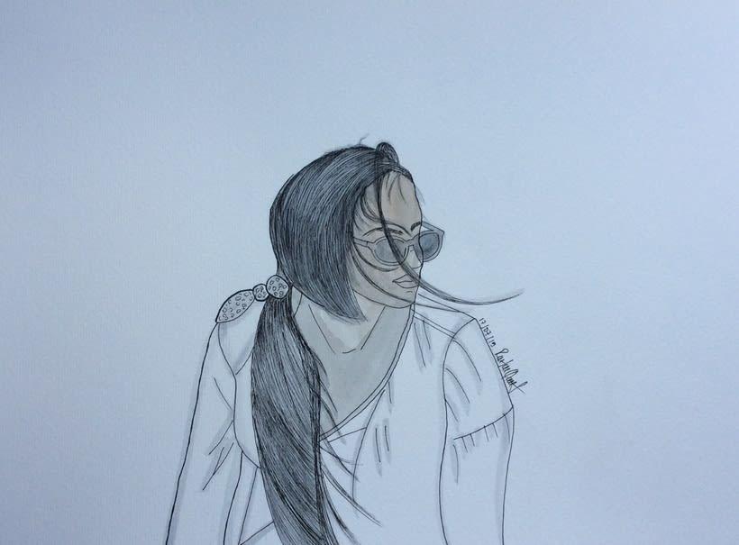 Marta al aire , watercolor 0