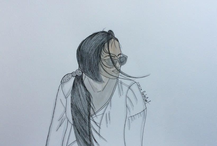 Marta al aire , watercolor 1