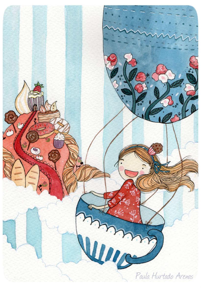 """Ilustración """"Viaje hacia lo dulce"""" -1"""