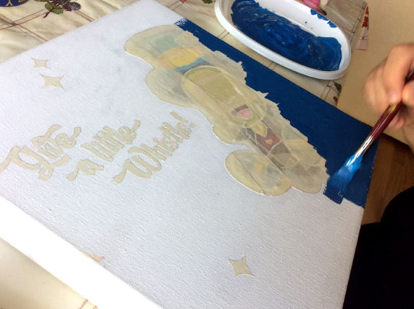 """Canvas """"Dame un silbidito"""" para la exposición colectiva """"La verdad sobre Pinocho"""" 8"""