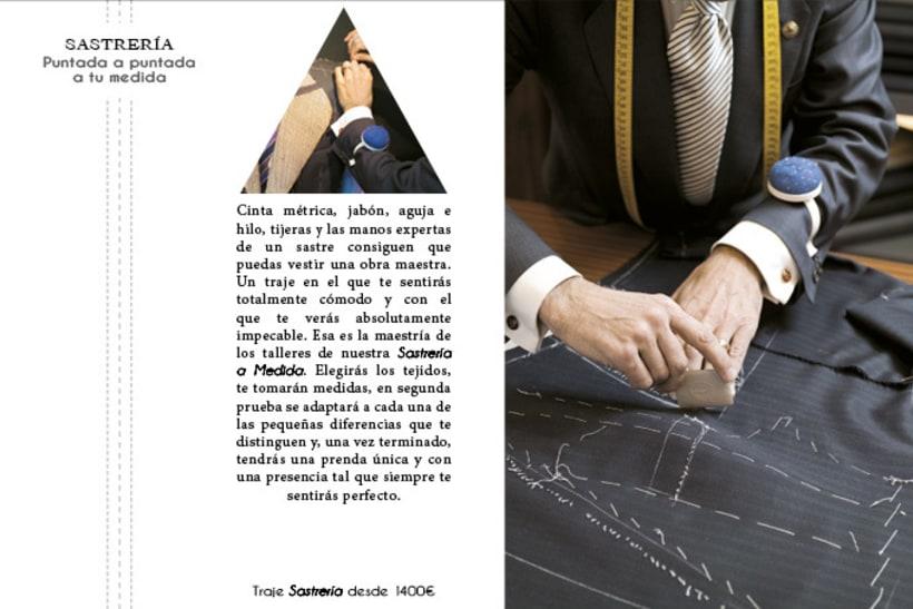 Catálogo de sastrería en trajes de hombre.  1