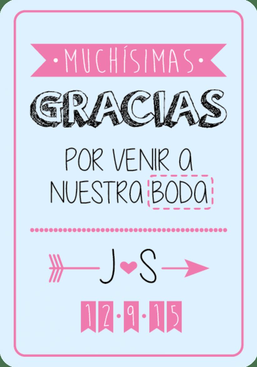 Diseño Tarjeta agradecimiento Boda Judith & Sergio -1