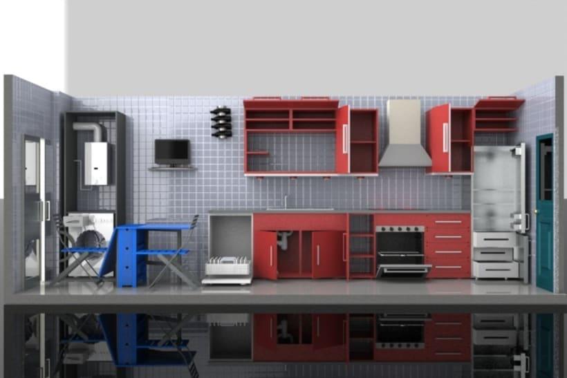 Diseño de cocina 3D | Domestika