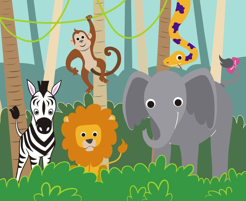 Ilustración animales de la selva 1